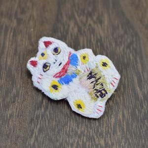 ゆる刺繍ブローチ【招き猫】