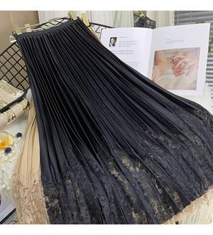 【再入荷】裾レースプリーツフレアスカート