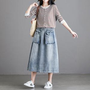 【2Colors】ポケットデニムスカートC0846