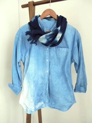 ◆100%自然素材 天然灰汁発酵建て 本藍染◆  今治産 スーピマオーガニックコットンストール