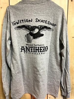 【クリックポスト200-対応】IGNITION SKATESHOP x ANTIHERO LS/TEE 1-8 SUPPORT grey M