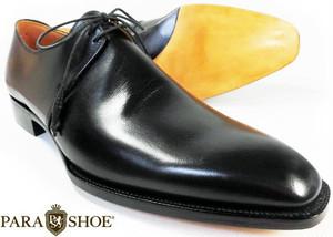 PARASHOE(パラシュー)ハンドメイド 本革底 2アイレットプレーントゥ ビジネスシューズ 黒 22cm~30cm ワイズ 2E(EE)~3E(EEE)【ハンドソーンウェルト製法/九分仕立て/日本製/革靴/紳士靴/PSY1031-BLK】