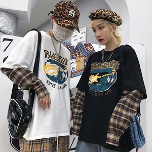 【トップス】ストリート系レトロ春秋切り替えしプリントフェイクレイヤードTシャツ