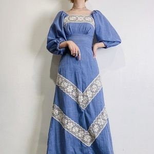 70s sax blue long dress【455】