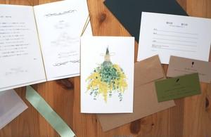 ユーカリとミモザの招待状(印刷込み)10部セット