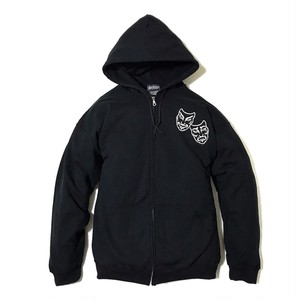 "Addiction KUSTOM THE LIFE ZIP HOODIE ""TWO FACE"" BLACK アディクション ジップアップ パーカー"