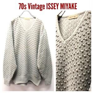 70s ビンテージ ISSEY MIYAKE イッセイミヤケ 初期 茶タグ 3Dコットンニット