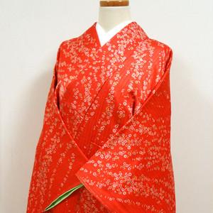 紅緋色に小花模様 艶やか小紋 三越謹製