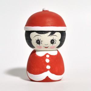 ギョロ目ちゃんこけし(クリスマスサンタ) 約2.5寸 約7.5cm 山谷レイ 工人(津軽系)#0232