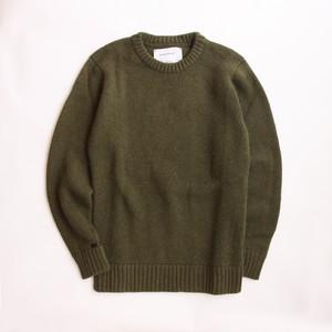 THE INOUE BROTHERS/Solid Jacquard/Crew Neck Sweater/Khaki