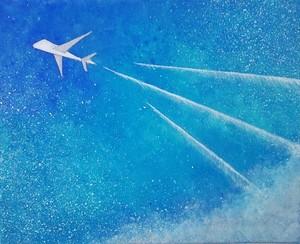 未来へ飛んでゆく飛行機の絵 アクリル画