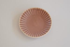 [豆皿] 菊 あずき色