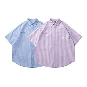 【UNISEX】シンプル ストライプ ショートスリーブシャツ【2colors】UN-520