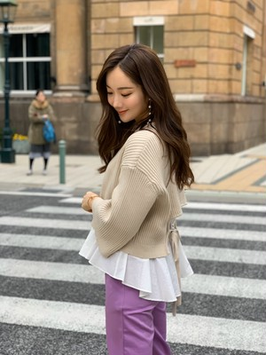 back ribbon knit ensemble / off white (即納)