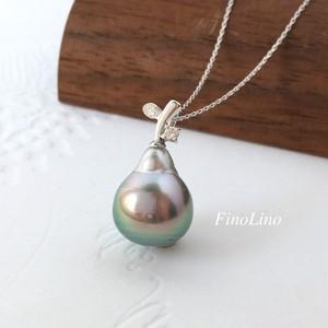 タヒチパール(黒蝶真珠) × ダイヤモンド × K10WG 果実モチーフ ペンダント