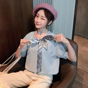 【トップス】夏新作入荷韓国ファッションボウタイ合わせやすい半袖Tシャツ