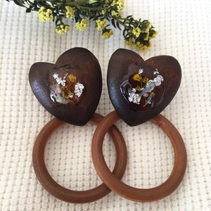 wood heart a3 earrings