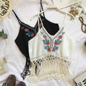【トップス】ボヘミアンスタイル伝統民族刺繍シフォンショートキャミソール