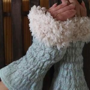ファーあり カシミヤ手織りアームウォーマー  F50