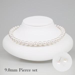 白妙90P-set(Shirotae)【Akoya8.5-9.0mm】Necklace & Pierce Set