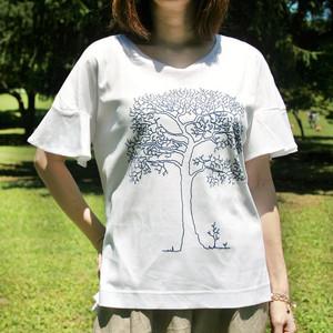 "CSTS-182オーガニックコットン""tree""フレアースリーブTシャツ"