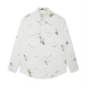 送料無料メンズ/ウサギ&ロゴ/白/綿/長袖シャツ