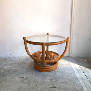 Vintage Rattan Glass Coffee Round Table 70's