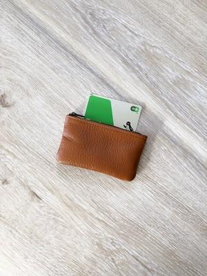 しっかり革小物 ポーチ 本革 シュリンク キャメル カードケース コインケース 小物入れ