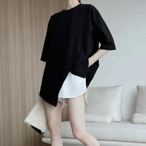 2色/スリットクロスオーバーTシャツ ・2864