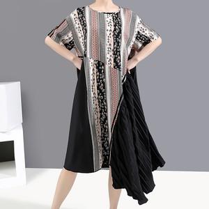 ワンピース アシンメトリー プリーツスカート ラウンドネック 大きいサイズ 韓国ファッション レディース ロング 花柄 Aライン ハイウエスト 大人可愛い ガーリー 621237971285