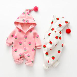 【子供服】キュートフルーツ柄フード付き新生児ベビーオールインワン24352153