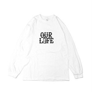 OURLIFE - STACKED BARREL L/S TEE (White)