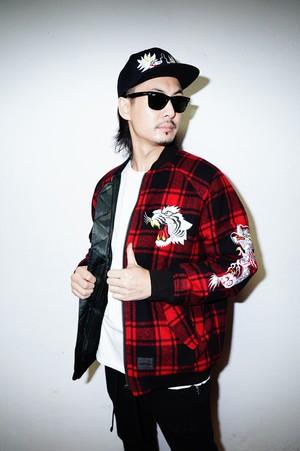 "Rakugaki ""TIGER & DRAGON"" Wool Check Tweed SKA-1 Reversible Jacket"