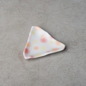 赤化粧三角小皿
