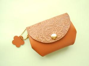 キャメル・お花型押しレザー・とっても便利なふっくらお財布・受注販売