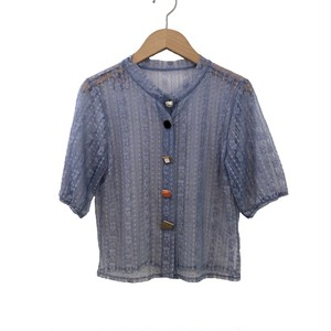 Random Button Sheer Cardigan   Color : Blue