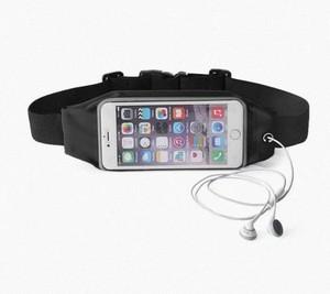 ウエストポーチ スマホ ランニング マラソン 防水 【ブラック iPhone6Plus】vwab326