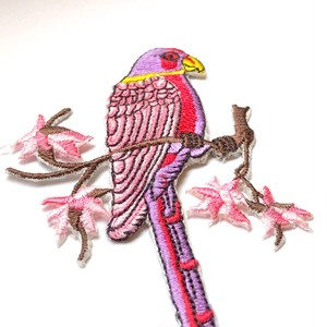 大きな鳥のワッペン(ピンク)