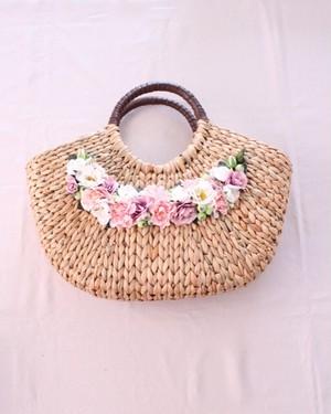 【最終価格】小花のカゴバッグ・ピンク/フラワーバッグ