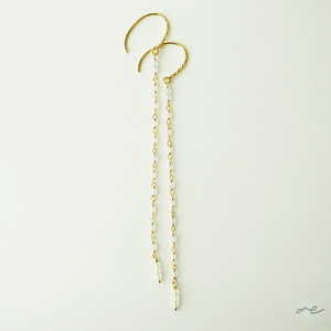 Aquamarine Line Earrings/14KGF