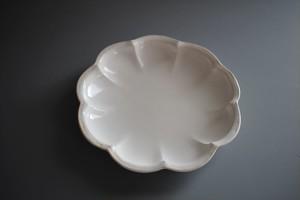 望月万里 ノナゴナル皿 白(軟質陶器)