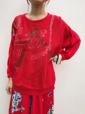 80s red leater × lace appliqué knit tops ( ヴィンテージ レッド レザー × レース アップリケ ニット トップス )