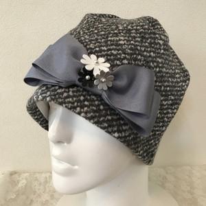 お花とリボンのケア帽子 ツィードグレー