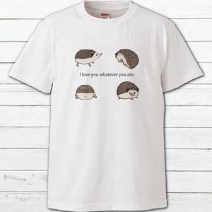 プリントTシャツ オリジナル 半袖シャツ レディース かわいい おしゃれ ハリネズミ 動物 イラスト 片面印刷 タイトル:大好きハリネズミTシャツ 作:Hanami