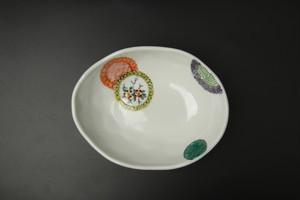 色絵丸紋楕円小鉢 九谷焼