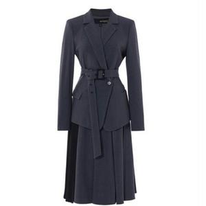 送料無料/スーツセットアップ/グレー/ベルト付き/ジャケット+異素材ミックスロングスカート