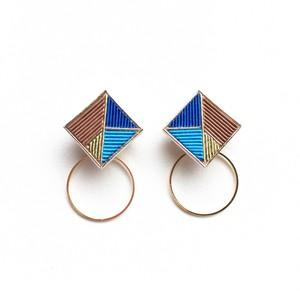 ピアス/イヤリング Square Hoop・M・Blue/Brown