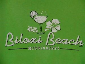 USA古着プリントTシャツM緑Biloxiビーチ ミシシッピ片面綿100良好52