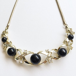 black beads & rhinestone necklace[n-187]