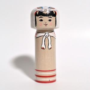 トラかぶりこけし(IVOKUMAコラボ) 約4寸 約12cm 林貴俊 工人(石巻こけし)#0078